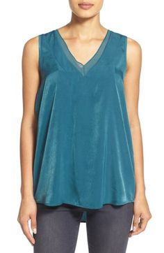Free shipping and returns on Pleione Sheer Inset V-Neck Blouse (Regular & Petite) at Nordstrom.com. A sheer inset tracingher neckline adds an eleganttouch to a billlowyblouse cut from light and lustrous crepe.