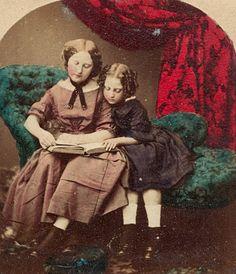 Reading lesson - Stereo photo hand colored, c.1860 Tableaux Vivants,  Lecture, 0c92b612963