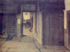 "journalofanobody: "" Georges Le Brun The Man Who Passes Musee Communaux Verviers, Belgium "" Scary Art, Sabbats, Expo, Romanticism, New Artists, Woodblock Print, Solitude, Belgium, Illustration Art"