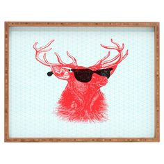 Add an eye-catching touch to your entryway console table or master suite vanity with this bamboo tray, showcasing a charming stag with sunglasses motif....