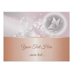 Rose Gold Blush Gray Floral Poster - giftidea gift present idea number 22 twenty-two twentytwo twentysecond bday birthday 22ndbirthday party anniversary 22nd