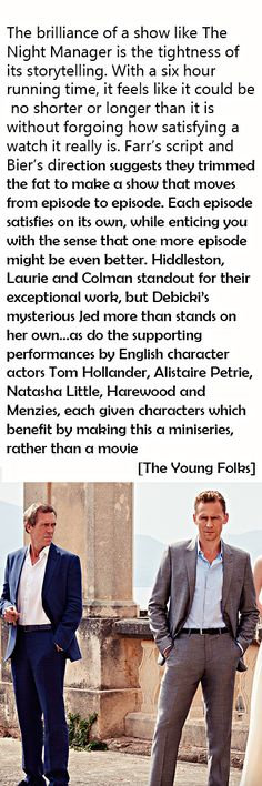 The Young Foks: TV Review: AMC's 'The Night Manager'. Link: http://theyoungfolks.com/review/the-night-manager-tom-hiddleston-hugh-laurie/79611
