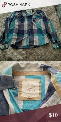 Mens Flannel Button Down with Snaps Button Down with snaps Ditch Plains  Shirts Casual Button Down Shirts