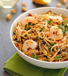 This fresh, lemony take on shrimp linguine can be cooked up in just 15 minutes! With shrimp, pistachios and fresh lemons, this whole grain pasta is simple and sophisticated.