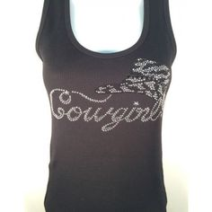 Black Rhinestone Bling Cowgirl with Hat Tank Top - RUNS SMALL