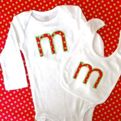 Monogrammed Personalized Christmas Baby Bodysuit and Bib Set with Applique Single Initial in Christmas Colors - http://www.babies-clothes.info/monogrammed-personalized-christmas-baby-bodysuit-and-bib-set-with-applique-single-initial-in-christmas-colors.html