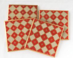 Gold, Red and Beige checkered floral motif Ceramic coasters Hand painted coasters by TheArtAndCraftsCo