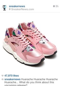 new product 01384 dd409 for sneakers Nike WMNS Air Huarache Run Print Floral Pale Pink Flowers Club  Purple