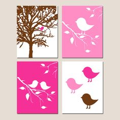 Baby Bird Nursery Art Decor Quad - Set of Four 8x10 Prints - CHOOSE YOUR COLORS - Shown in Hot Pink, Brown and More