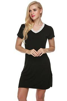 3a6be4eb797 Ekouaer Comfy Sleepshirt Womens Lace Short Sleeve Lounge Dress Plus Size  Lingerie (Black