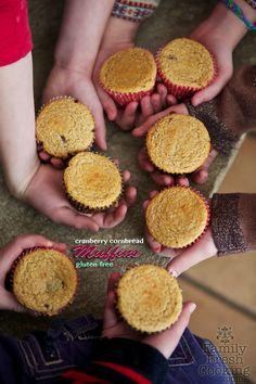 Cranberry Cornbread Muffins - Gluten Free | FamilyFreshCooking.com