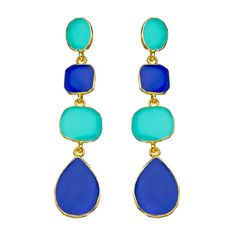 Kenneth Jay Lane Multi-Shape Blue and Turquoise Dangle Earrings ($79) ❤ liked on Polyvore
