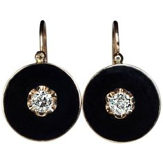 Preowned Antique Black Enamel Diamond Gold Earrings (€2.995) ❤ liked on Polyvore featuring jewelry, earrings, black, diamond earrings, diamond dangle earrings, gold dangle earrings, 14k diamond earrings and antique diamond earrings