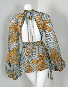 ... 1970's Ossie Clark Deco-Floral Celia Birtwell Print Silk Blouse image ...