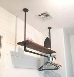 Hanging Pipe shelf for laundry closet Laundry Room Remodel, Laundry Closet, Laundry In Bathroom, Basement Laundry, Laundry Area, Small Laundry Rooms, Laundry Room Organization, Laundry Room Design, Laundry Room Shelving