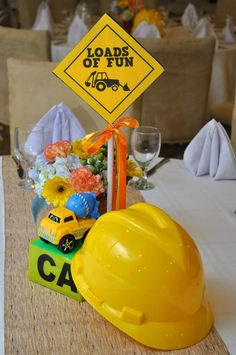 Construction themed party table centerpiece