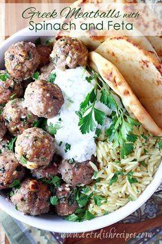 Greek Turkey Meatballs with Spinach and Feta on MyRecipeMagic.com