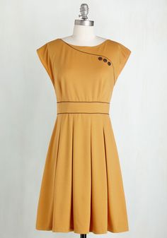 Topiary Tour Dress in Marigold. Much like the sculpted shrubs you admire on the mansions expansive grounds, this mustard-yellow dress is sure to impress! #yellow #modcloth
