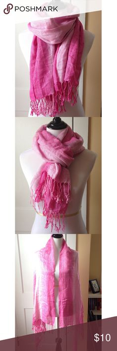 Pink Ombré Sparkle Thread Scarf This lovely pink ombré, silver sparkle thread scarf has fringe tassels on each end. Dark and light pink. Can double as a wrap. A beautiful piece to brighten up your outfit! New without tags!  Boutique Accessories Scarves & Wraps