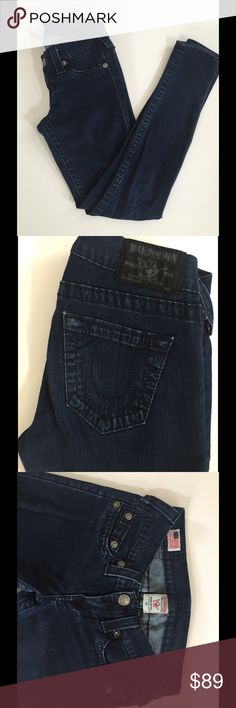True Religion Dark Wash Super Skinny Jeans Size 25. Stretchy fit. Ankle length. The photo of the model is not the exact jeans, but almost exact style and fit. True Religion Jeans Skinny