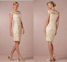 Vintage 2014 BHLDN Inspired Champagne Lace Mother of the Brides Dresses Evening Gown Cap Sleeve Sheath/Column Crew Short Party Formal Dress, $120.26 | DHgate.com