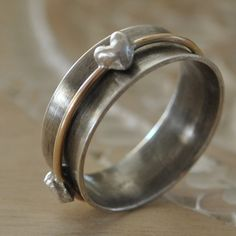 Sterling Silver Spinner Ring Heart by BelleBohemeJewelry on Etsy