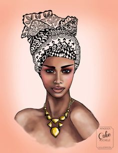 African Queen woman Illustration Colorful Geometric head wrap crown mod retro vintage black girl fashion wall art print
