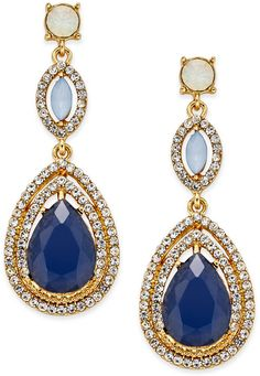 INC International Concepts Gold-Tone Multi-Stone Pavé Double Drop Earrings, Only at Macy's