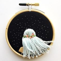 Flowing Hair Beneath The Stars - embroidery art, embroidery hoop, fiber art, fiber crafts, fiber artist