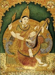 Mysore-style of Painting: Mysore painting depicting the goddess Saraswati