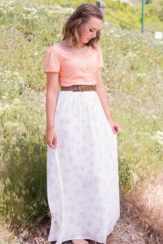 5db024775b4 Modest Maxi Skirt in Cream w Pink Floral Print