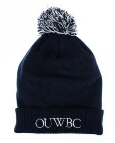 OUWBC Bobble Beanie Navy beanie with embroidered OUWBC on the front and finished with a blue and grey bobble on the top.