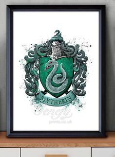 Les enfants de Harry Potter Serpentard Crest aquarelle Art Poster Print - Wall Decor - Artwork - Home Decor - Decor - Decor de pépinière