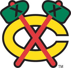 Chicago Blackhawks Alternate Logo (1965) - A yellow C with red tomahawks crossed over it