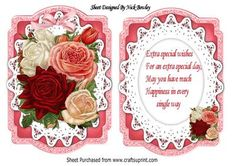 Pretty roses in bloom on bracket lace card insert on Craftsuprint - Add To Basket!