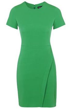 Asymmetric Wrap Shift Dress - Green #mididress #workday #women #covetme #topshop