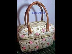 Bolsa bau - Tutorial how to make handbag Diy Purse, Clutch Purse, Tutorial Patchwork, Baby Diaper Bags, Handmade Handbags, Bag Patterns To Sew, Patchwork Bags, How To Make Handbags, Fabric Bags