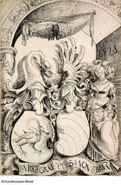 Artist: Graf, Urs, Title: Scheibenriss mit dem Allianzwappen Graf und von Brunn, Date: 1518