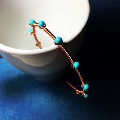 handmade rustic boho turquoise/lapis lazuli copper wire wrap cuff bangle bracelet by BeadsLearnToRock