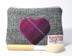Make-up bag cosmetics bag Harris Tweed heart by Enchantingcrafts