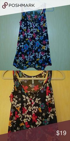 Loila Floral Tank Ruffled v neck racer back tank with floral pattern. In perfect condition. Loila Tops Tank Tops