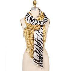 Cheetah/Zebra Print Raw Edge Scarf ($13) ❤ liked on Polyvore
