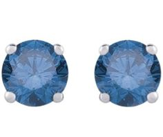 1/2 ct. Blue Round Brilliant Cut Diamond Earring Studs in 14K White Gold