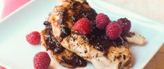 The perfect marriage of savory and sweet, our balsamic-raspberry chicken combines raspberry preserves with boneless chicken breasts and tangy balsamic vinegar.
