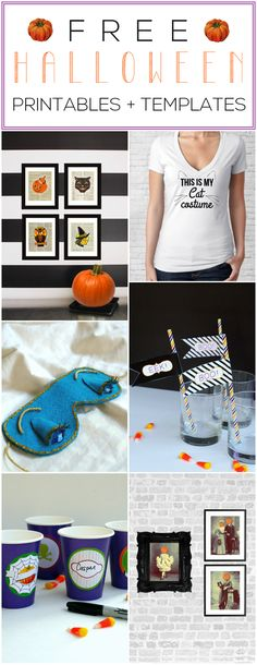Get free Halloween printables and templates, including a template for Holly Golightly's sleeping mask from Breakfast At Tiffany's, straw flags, prints, and many more! Halloween Crafts, Happy Halloween, Halloween Party, Halloween Decorations, Cat Costumes, Halloween Costumes, Dawn Nicole, Tea Blog, Printable Cards