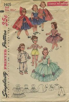 """Vintage Doll Clothes Sewing Pattern   Wardrobe suitable for Toni Walker Doll   Simplicity 1405   Year 1955   Size 19½"""""""