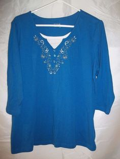 Basic Editions Women's 3/4 Sleeve Shirt Top Blue Embroidered Floral Plus Size 1X #womens #plussize #plussizefashion #shirt #top #floral #embroidered #basiceditions #clothing #clothes #apparel #fashion #onlinestore #onlineshopping #ebay #ebaystore