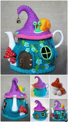 #Knit Fairy House Teapot Cozy Cover Free Pattern-Crochet Knit Tea Cozy Free Patterns  #Kitchen