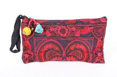 Birds in Red  Wristlet Clutch  HMONG Embroidered Fabric Hippie Boho Handmade Thailand (BG810-RB)