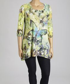Another great find on #zulily! Lemongrass Butterfly Sidetail Top - Plus by Morning Sun #zulilyfinds